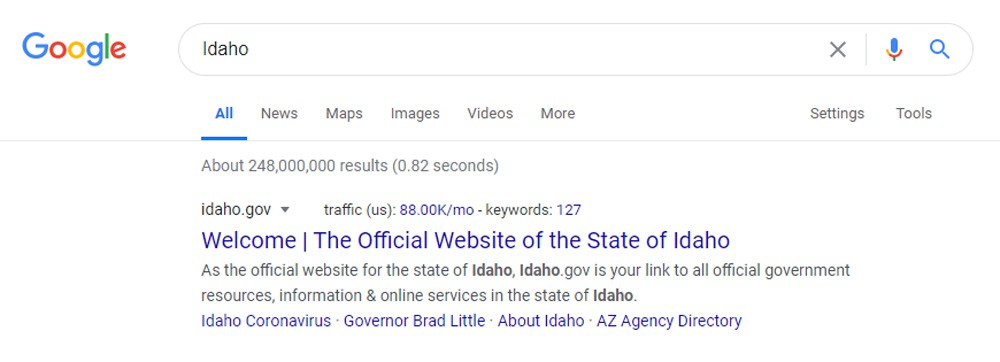 Google Ranking Idaho Webpages